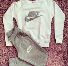 Fashion Letter Long Sleeve Shirt Sweater Pants Sweatpants Set Two-Piece Sportswear Lazy Outfits, Sport Outfits, Winter Outfits, Summer Outfits, Casual Outfits, Cute Nike Outfits, Gym Outfits, Fitness Outfits, Workout Outfits