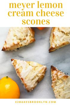 cheese scones meyer lemon cream Meyer Lemon Cream Cheese SconesYou can find Meyer lemon recipes and more on our website Meyer Lemon Recipes, Lemon Desserts, Delicious Desserts, Yummy Food, Cheese Scones, Savory Scones, Brownie Cookies, Chip Cookies, Brunch Recipes
