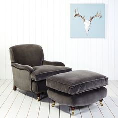 Windsor Velvet Armchair and Footstool - Sofas & Armchairs - Furniture Buy Sofa, Grey Room, Sofa Design, Condo Design, Velvet Armchair, Furniture Inspiration, Interior Inspiration, Soft Seating, Sofa Seats
