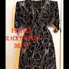 Black & White Dress The perfect chic black & White dress. Ties in the back? Very stretchy, would fit a large. This dress is perfect for any occasion and is very stylish and comfy. NWOT. Dress Barn Dresses