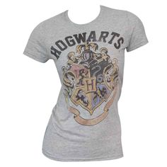 Climb onto platform nine and three quarters when you put on this grey women's T-shirt. This shirt depicts the Hogwarts School for Witchcraft and Wizardry to show off your love of the books and movies.