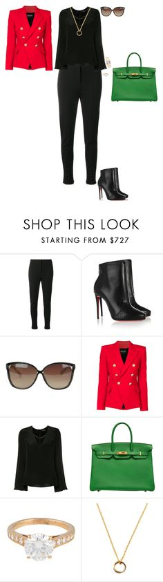 """Modern executive"" by stylev ❤ liked on Polyvore featuring Altuzarra, Christian Louboutin, Linda Farrow, Balmain, Cushnie Et Ochs, Hermès, Cartier and modern"