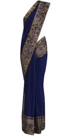 Indigo Net sari with printed border by ROHIT BAL. Shop at https://www.perniaspopupshop.com/designers-1/rohit-bal/rohit-bal-6