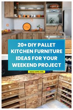 20+ DIY pallet kitchen furniture ideas for your weekend project. #diypalletkitchenproject