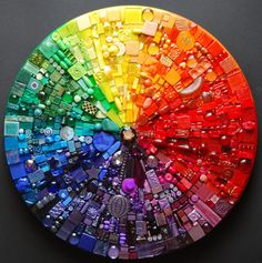 Mandala color wheel, with buttons, beads, all sorts of beautiful things.