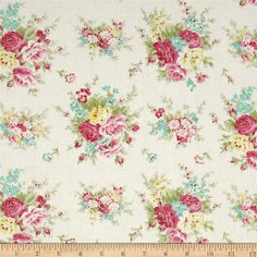 Tanya Whelan Rosey Little Bouquet Ivory from @fabricdotcom  Designed by Tanya Whelan for Free Spirit, this cotton print fabric is perfect for quilting, apparel and home decor accents. Colors include shades of pink, yellow, light blue and an ivory background.