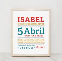 Birth Announcement.  Dados do Nascimento.
