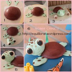 tarta cake buscando a nemo finding dori tortuga turtle mud cake tutorial… Turtle Tutorial por Noma Cakes - O Diretório Cake - Tutoriais Sea turtle from fondant Squirt the sea turtle how to free photos of fondant tutorials - Bing images Finding Nemo Cake, Decors Pate A Sucre, Fondant Animals, Mud Cake, Fondant Decorations, Fondant Toppers, Cupcake Toppers, Fondant Icing, Frosting