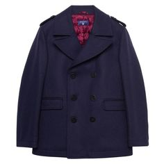 """Our Boys Peacoat 3-15 Yrs, in a wool-polyamide blend, features an eco-friendly water-repellent finish, a double-breasted front with buttons, flap front pockets, a padded lining for comfort and warmth, epaulettes, a single back vent and hanging loop. (Design side note: """"epaulettes"""" refer to the ornamental shoulder pieces on an item of clothing, especially on coats or military-inspired jackets.)"""