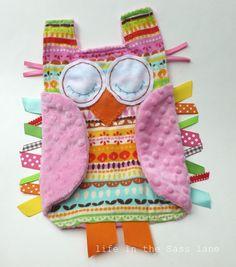Rainbow Brights Stripes OWL Ribbon Tag Baby Blankie by LifeInTheSassLane, $24.00
