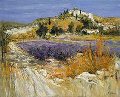 """Jean-Paul SURIN """"Lavandes en Provence"""" Huile sur toile Format (cm) : 100x81"""