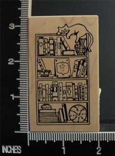 BOOKCASE WITH CAT SLEEPING ON TOP rubber stamp BY STAMPA ROSA