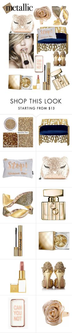 """""""Stop! Glamour time"""" by fashionko ❤ liked on Polyvore featuring beauty, Material Girl, Furla, Gucci, Yves Saint Laurent, Burberry, Tom Ford, Missguided and Hop Skip & Flutter"""