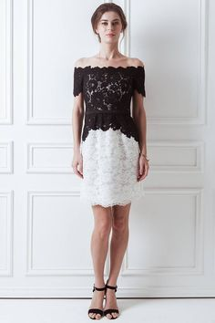 Lena Dress || The Lena Dress is flatteringly cut. The black and white contrast is chic and modern. Made from the finest lace, the dress is perfect for formal occasions.