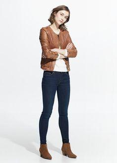 Pocket leather jacket | MANGO