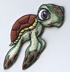 """Children's Sea Turtle Iron on Applique Measures 1-5/8"""" x 2-3/8"""" (4.1cm x 6.03cm) Great for clothing, hats, bags, and more! High quality, detailed embroidery applique. Can be sewn or ironed on."""