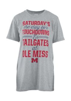 Royce Ole Miss Rebels Touchdowns And Tailgates Melange Short Sleeve Tee Shirt - Heather Gray - L