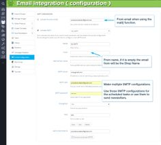Email integration (configuration). From email when using the mail() function. From name, if it is empty the email from will be the Shop Name. Make multiple SMTP configurations. Use those SMTP configurations for the scheduled tasks or use them to send newsletters.