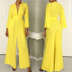 Fashion V Neck Long Sleeve Pure Colour Jumpsuit – stylishpop Jumpsuit Hijab, 70s Women Fashion, Hijab Fashion, Fashion Outfits, Hijab Evening Dress, Yellow Jumpsuit, Casual Party Dresses, Long Romper, Jumpsuit Pattern