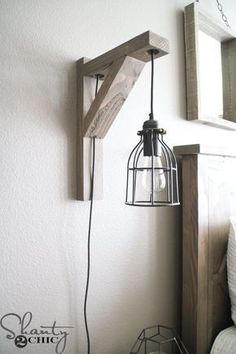 Build this DIY Rustic Corbel Light Sconce for 25 Creative bedroom lamp but perfect for so many spots in your home Free plans at Bedroom Lamps, Bedroom Lighting, Home Decor Bedroom, Bedside Lighting, Bedroom Ideas, Bedroom Wall Lights, Diy Headboard With Lights, Bathroom Pendant Lighting, Apartment Lighting