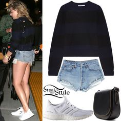 Chloe Moretz was spotted arriving at Drake's Summer Sixteen Tour wearing a T by Alexander Wang Distressed Sweater ($199.00), Levi's Denim Shorts ($45.00+), a Coach 1941 Saddle 23 Bag ($395.00) and Adidas Ultra Boost Sneakers ($180.00).