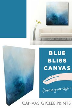 Expressive abstract in blues and white printed on gallery-wrapped canvas. Ready to hang. CHOOSE YOUR SIZE! #ArtistsOfPinterest #WallArt Art Paintings For Sale, Modern Art Paintings, Wall Prints, Canvas Prints, Modern Prints, Wrapped Canvas, Giclee Print, Blues, Abstract Art