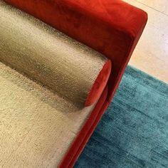 Parisian showroom #fabrics #velvet #luxury #gold #rugs #patine #setting…