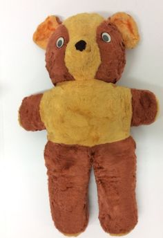 "Vintage Teddy Bear Googly Eyes  Brown Gold 22"" Mohair #vintage"