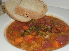 Rote-Linsen-Suppe mit Sucuk #Rezept   #Türkei