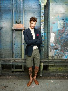 tattoo - cool fashion style inked chicquero navy suit and shorts