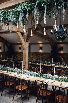 Overhead Decor And Chandeliers 25 Edison Bulb Wedding Ideas For A Bit Of Edge Barn Wedding Decorations, Wedding Greenery, Wedding Flowers, Barn Lighting, Industrial Lighting, Wedding Lighting, Lighting Ideas, Industrial Wedding Decor, Stone Barns