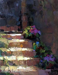 Sun-Streaked Steps by Trisha Adams Oil ~ 12 x 9 Abstract Landscape Painting, Landscape Art, Landscape Paintings, Landscapes, Selling Paintings, Art Abstrait, Impressionism Art, Beautiful Paintings, Art Oil