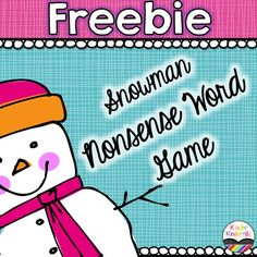 FREE Snowman Nonsense Word Game to help students practice reading or sounding out nonsense CVC words!