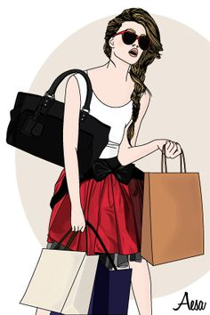 Shopping by Aesa Illustration - fashion illustration - red - bags - drawing
