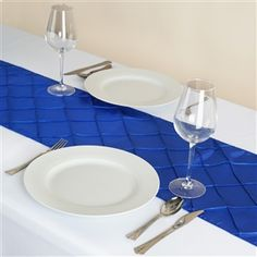 "Wholesale Royal Blue Taffeta Pintuck Table Runner For Wedding Catering Party Decorations - 12""x108"""