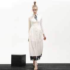 Retro Maxi #Dress With Pussy Bow and Lace Hem Detail
