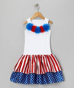 Take a look at this White Americana Rosette Dress - Toddler & Girls by Royal Gem Clothing on #zulily today!