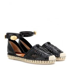 Valentino Ethno Bondage Leather Espadrilles ($1,095) ❤ liked on Polyvore featuring shoes, flats, espadrilles, black, valentino, espadrilles shoes, leather espadrille flats, black shoes, kohl shoes e flat shoes