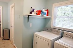 All depends on the lighting, here the color looks light enough    a possible color choice martha stewart Artesian well--laundry room