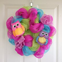 Bright Summer/Spring Deco Mesh Wreath with by DelaysDivineDesigns, $60.00