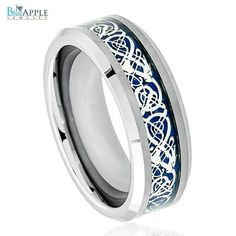 His Hers 8mm Tungsten Carbide Beveled Edge Celtic Knot Dragon over Blue Inlay Wedding Engagement Band Ring