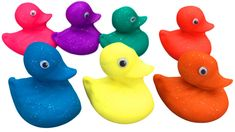 Play Doh Ducks in 7 different colors and 7 Cutting Molds Funny Songs, Play Doh, Rubber Duck, Nursery Rhymes, Ducks, Different Colors, Preschool, Play Dough, Nursery Rhymes Songs
