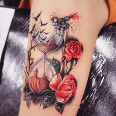60 Hourglass Tattoo Ideas The post 60 Hourglass Tattoo Ideas appeared first on Garden ideas - Tattoos And Body Art Time Tattoos, Leg Tattoos, Flower Tattoos, Body Art Tattoos, Sleeve Tattoos, Tattoo Arm, Tatoos, Pretty Tattoos, Unique Tattoos