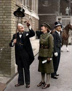 Colourised photograph of Winston Churchill amusing his youngest daughter Mary Soames in 1943.