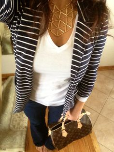 Stripped blazer, fitted jeans