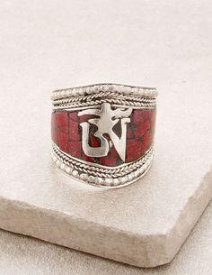Tibetan Coral Om Ring