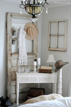 old barn door and old window decorations (home decor)