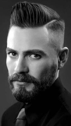 Men with beard have style and are sexy! Popular Mens Hairstyles, Cool Hairstyles, Peaky Blinder Haircut, Hair And Beard Styles, Hair Styles, Hot Haircuts, Short Beard, American Crew, Beard Grooming