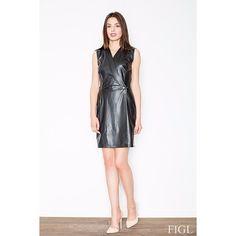 Black Eco-Leather Wrap Dress Laveliq LAVELIQ