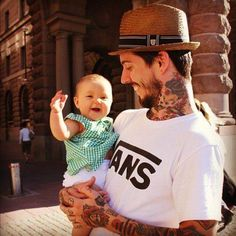 there really is nothing more endearing than a tattooed dad holding his little baby. #tattoo #tattoos #ink #inked